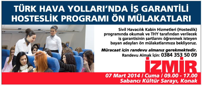 SH Kabin Hizmetleri Programı Ön Mülakatları İzmir'de Başlıyor