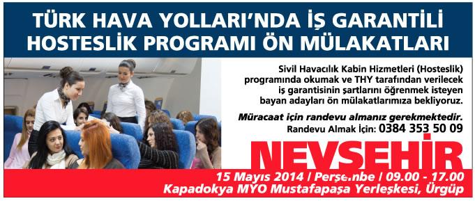 SH Kabin Hizmetleri Programı Ön Mülakatları Nevşehir'de Devam Ediyor